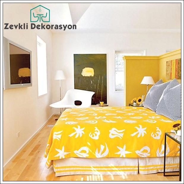 sarı yatak odası, renkli yatak odaları örnekleri