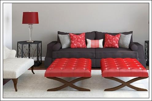 Kırmızı siyah oturma odası dekorasyonu, renkli oturma odası dekorasyon fikirleri, renkli koltuk modelleri